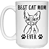 N\A Funny Best Devon Rex Cat Mom Ever Middle Finger Taza de café Blanca