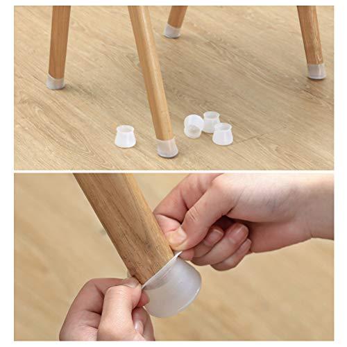 Vssictor - Tapas de silicona para patas de silla con almohadillas de fieltro, redondas, muebles de mesa, protectores para patas de silla pequeños