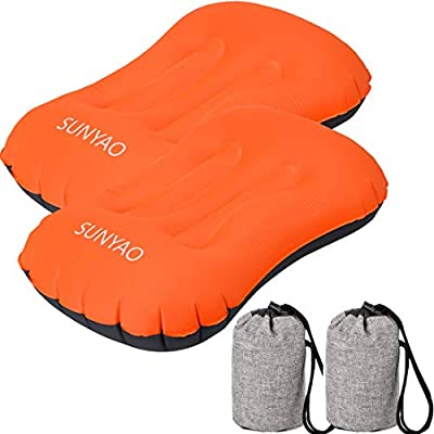 SUNYAO 2 Pack Set Ultralight Inflatable Camping Pillows with Compact Pouch Sack Ergonomic Pillow for Neck & Lumbar Support While Camping, Backpacking?Hiking