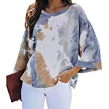 CHMORA - Camiseta de manga larga para mujer, color degradado, cuello redondo, manga acampanada, informal, holgada, de manga larga, otoño e invierno