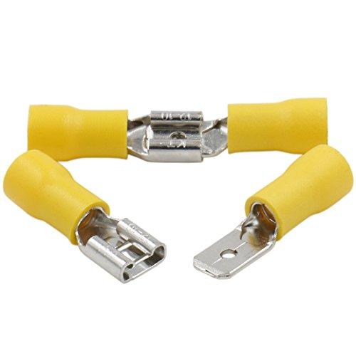 Heschen Stecker/Buchse, Schnelltrenner, Vinyl, isoliert, 6,3 x 0,8 mm, Kabelschuh für 4–6 mm² (12–10 AWG), Gelb, 100 Stück