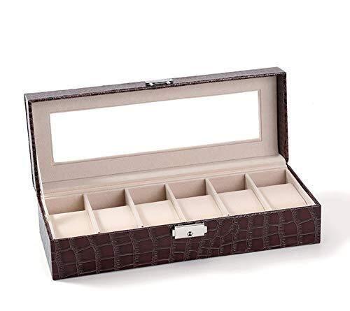 HCYY Caja de Reloj Patrón de cocodrilo Almacenamiento de 6 Compartimentos Pantalla de Reloj Caja de Almacenamiento de joyería