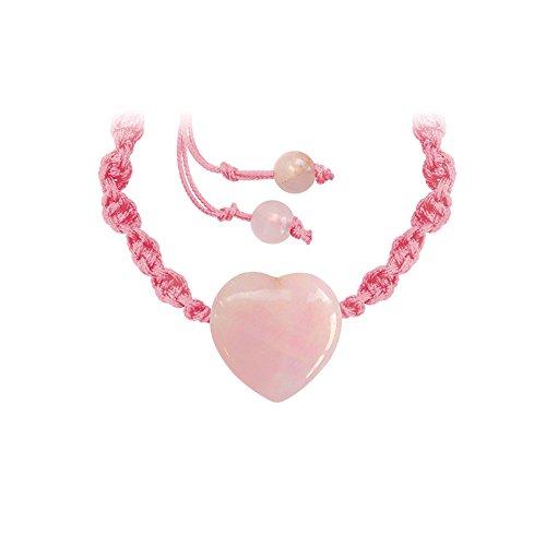 Pulsera mineral con corazón – Piedra de cuarzo rosa