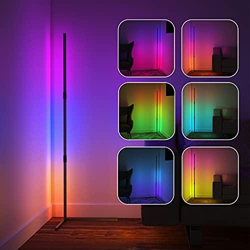Viugreum Lampada da Terra LED Dimmerabile, RGB 20W Angolare Cambia Colore Lampada con Telecomando, Minimalista Atmosfera a LED Piantana Lampada RGB per Decorazione Della Casa Moderna Soggiorno