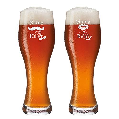 polar-effekt 2 Weizenbiergläser mit Gravur - Personalisiert mit [Namen] - Bierglas 0,5l - Weizenglas Geschenk-Idee zur Hochzeit - Mr. & Mrs. Always Right mit Schnurrbart & Kussmund