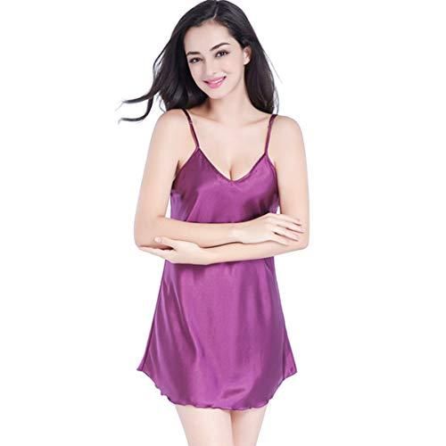 Pijama Mujer Tirantes Satén Sexy Verano Corto Conjunto,Ropa de Dormir Seda Comodo y Suave Lencería de Tirantes
