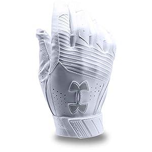Under Armour Men's Clean Up Baseball Batting Gloves, White (101)/Steel, XX-Large