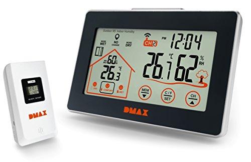 DMAX Wetterstation Funk mit Außensensor Temperatur und Hygrometer Station mit Lüftungsempfehlung und Touchscreen