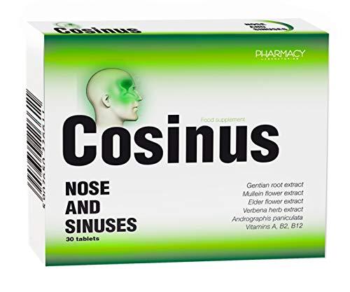 Pharmacy Laboratories Cosinus Immunsystem Ergänzungsmittel gegen Verstopfte Nase | 30 Tabletten | Enthält Vitamin A, B2, B12 und Pflanzenextrakte | Geeignet für Erwachsene | Dermatologisch getestet