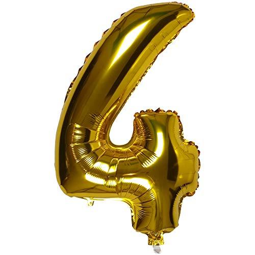 DIWULI, XXL aantal ballonnen, nummer 4, gouden ballonnen, aantal ballonnen goud, folieballonnen nummer geen jaar, folieballonnen 4e verjaardag, bruiloft, feest, decoratie, geschenkdecoratie