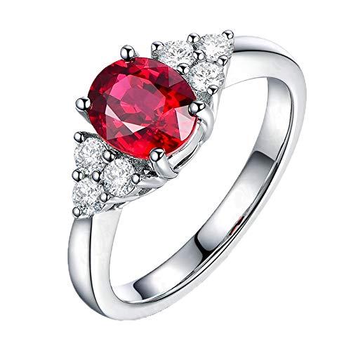 AueDsa Anillo Mujer Plata Rojo Anillo Compromiso Mujer Oro Blanco 18K Sangre de Paloma Natural Rubí Rojo Oval 1.25ct Diamante 0.24ct Talla 21