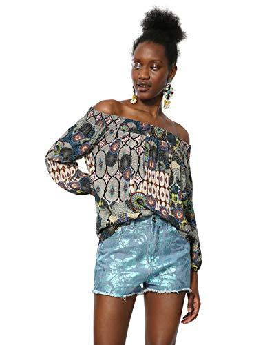 Desigual Damen Blouse Short Sleeve Melina Woman Multicolour Bluse, Mehrfarbig (Tutti Fruti 9019), Large