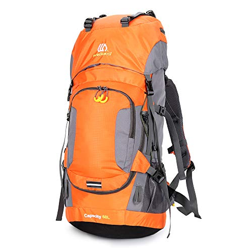 Walory Hiking Backpack - 60L Waterproof with Rain Cover Camping Mountain Climbing Cycling Backpack Al Aire Libre Sport Bag - Orange