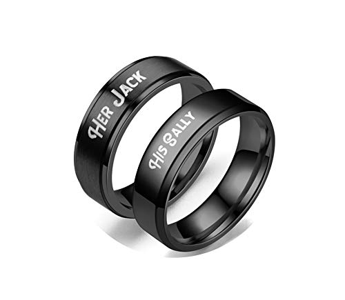 KnSam 2 Pcs Couples Rings Stainless Steel Engraved His Sally&Her Jack Black Women Ring 8 Men Ring 9