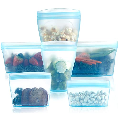 Reusable food container silicone bag, Full Set 6, 2Cups, 2Dishes,...