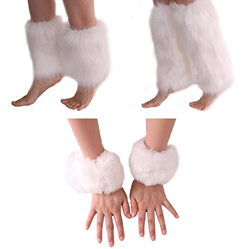 Olgaa Polsini in pelliccia sintetica, 2 misure, scaldamuscoli invernali, accessorio per costume, 3 pezzi