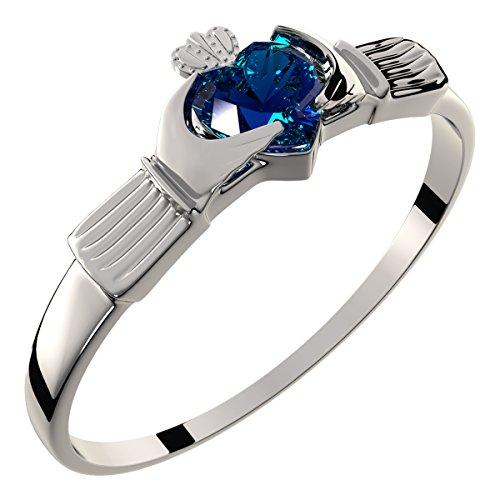 GWG Jewellery Anelli Donna Regalo Anello Argento Sterling Claddagh Cuore in Zircone Blu Zaffiro Sormontato da Corona - 8 per Donne