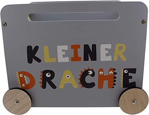 Dekoleidenschaft Spielzeugkiste Kleiner Drache grau mit Rollen, Holzkiste, Aufbewahrungskiste, Spielkiste, Ordnungsbox, Spielzeugbox, Spielzeug-Aufbewahrung