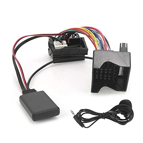 YCW Cables Coche Bluetooth 5.0 Auxiliar Módulo de Adaptador de Audio de Cable Ajuste para Citroen C2 / C3 / C4 / C5 / C6 con Micrófono Fit para Peugeot 307 207 407 Automotor