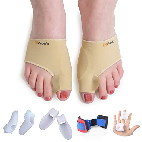 eProda Bunion Corrector - Orthopedic Foot Pain Relief Sleeves Kit with 2 Bunion Splint & 3 Pairs Toe Separators Spacers for Men & Women - Stop Plantar Fasciitis Hammer Toes Hallux Valgus