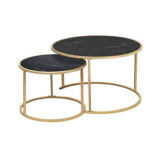 Fashionable Bedside Table Round Side Table, End Table With Golden Metal Frame, Bedside Table, Living Room, Balcony, Robust And Stable, Decorative, 2 Round Nesting Table Multifunctional for Bedroom