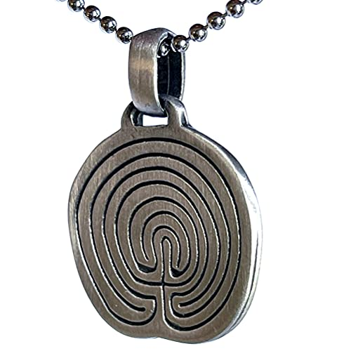 Tribal Jewelry Cretan Labyrinth Maze Chakravyuha Riddle Meis Galicia Classical Pewter Men's Pendant Necklace Wealth Money Lucky Charm Guidepost Safe Travel Talisman Protection Amulet Silver Ball Chain