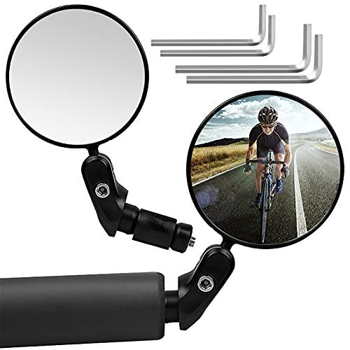Jinlaili 2 Piezas Espejos Retrovisor de Bicicleta, Bicicleta Ciclismo Espejos Retrovisores Redondo, Espejos de Bicicleta Ajustable, Ciclismo Accesorios para Mountain Road Bike, Bicicletas de Montaña
