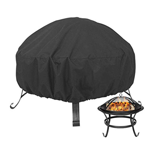 HAILAN Fire Pit Cover Round, Waterproof Heavy Duty Round Patio Fire Bowl Cover for Landmann Big Sky Fire Pit Stone Fire Pit Covers Dust Cover with Drawstring and Storage Bag- Black (36x21inch)