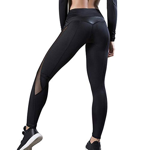 OEAK Damen Sport Leggings Hohe Taille Strumpfhose Push Up Herz Patchwork Übung Hose Stretch Sporthose Fitnesshose Laufenhose Tights für Gym Workout (Schwarz B, S)