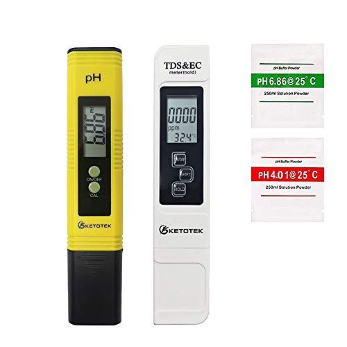 KETOTEK pH Meter TDS EC Pen Water Tester Digital, Portable EC PPM Meter pH...