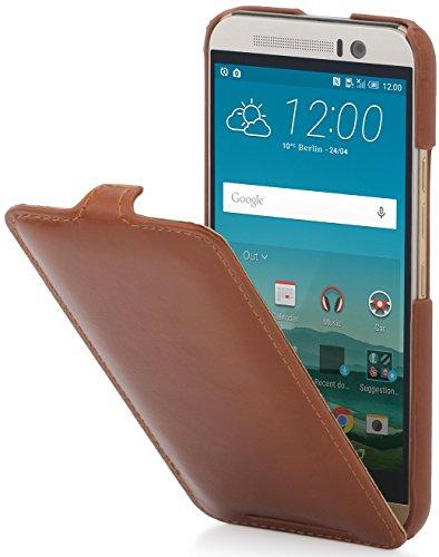 StilGut UltraSlim Hülle, Hülle Tasche aus Leder kompatibel mit HTC One M9, Cognac