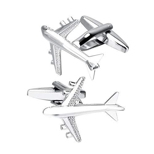 Zavddy-Accessories Gemelos para Hombre Gemelos con Forma de avión for Hombres Boda Negocio Gemelos Regalo Hombres for Boda Gemelos clásicos de Negocios para Bodas (Color : Silver, Size : 20×25