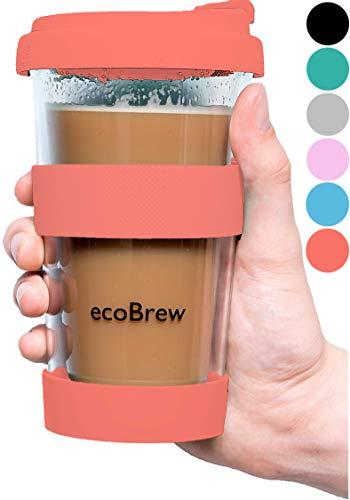 Glas Kaffeebecher to Go | Doppelwandig Isolierung Kaffeetasse | 340 ml Travel Mug mit sicherem Deckel | Coffee Becher für zu Hause, Büro oder Auto | Lebende Koralle
