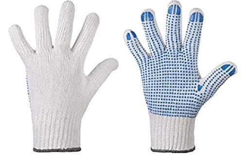 10 Paar Baumwollhandschuhe mit blauen Noppen - Arbeitshandschuhe - einseitig genoppt - Größe 10 (Herren) - Griphandschuh - Lagerhandschuh