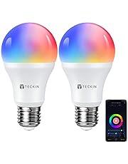 TECKIN Bombilla LED Inteligente WiFi Luces Cálidas RGB 2800k-6200k Ajustable y Lámpara E27 Multicolor Funciona con Alexa, Google Home, Equivale 7.5W, 2 Paquete