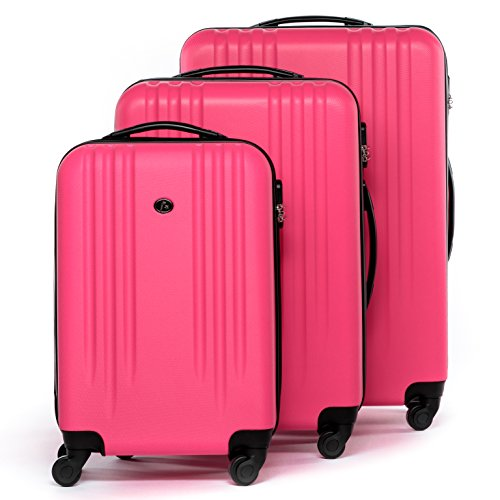FERGÉ Kofferset Hartschale 3-teilig Marseille Trolley-Set - Handgepäck 55 cm L XL - 3er Hartschalenkoffer Roll-Koffer 4 Rollen 100% ABS pink