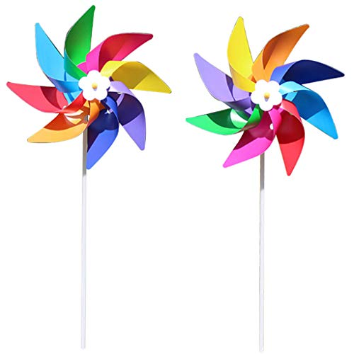Gjyia Kunststoff Bunte Windmühle Wind Spinner Kinder Spielzeug Rasen Garten Hof Party Dekor Outdoor Handmade