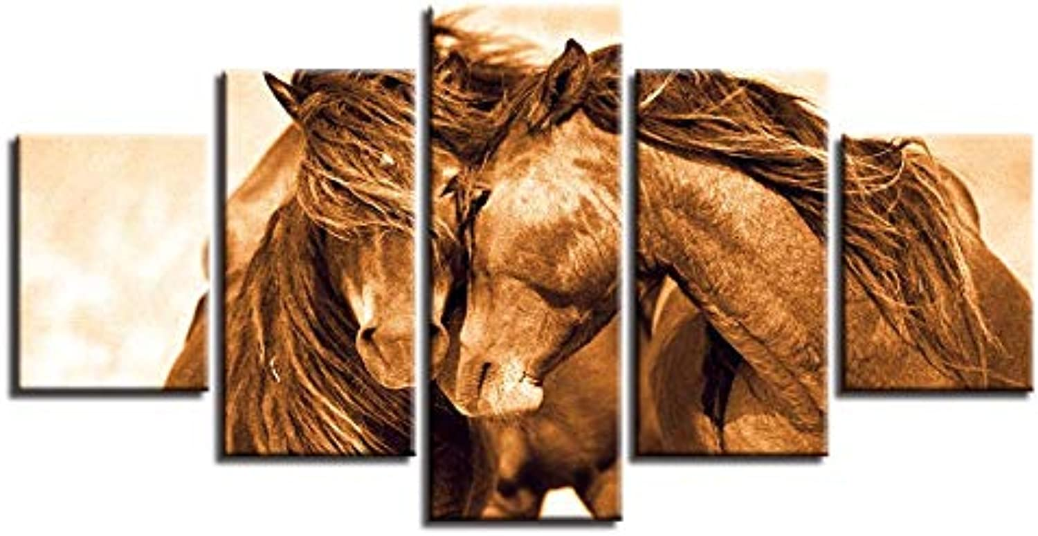Print Painting for Living Room Home Decor Cuadros 5 Panel Animal Brown Horse Modular Picture Poster Frame Canvas