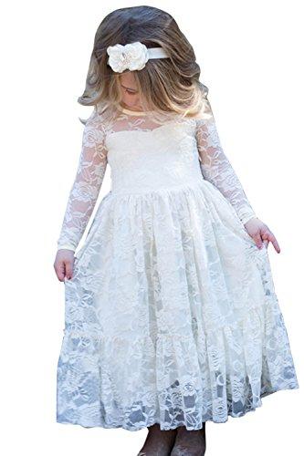 Babyonline Langarm Blumenmädchen Kleid Kinder Mädchen Kleid festlich Brautjungfern Party Kleid Elfenbein Festzug Hochzeit, Elfenbein, Gr. 12-13 Jahre alt, 155 CM