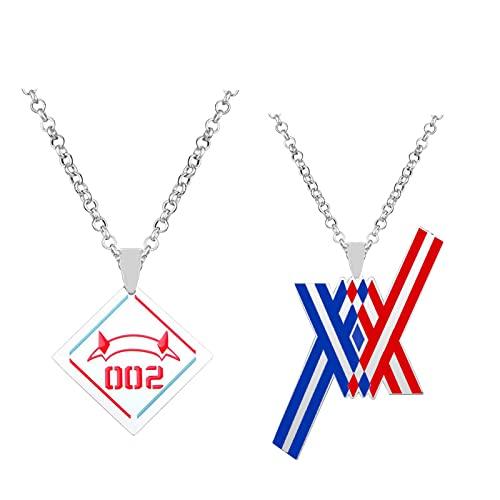 Anime Darling In The Franxx Zero Code 002 collar colgante Cosplay joyería collares accesorios de Metal disfraz Prop regalo de Navidad