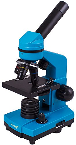 Levenhuk Rainbow 2L Azure Student Microscope for Children with Experiment Kit, Upper and Lower LED Light for Observing All Kinds of Samples