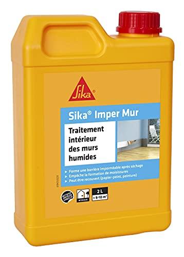 Sika Imper Mur, Resine pour traitement des murs humides, anti-salpêtre, anti-moisissures, anti-humidité pour mur intérieur multi-supports, 2L