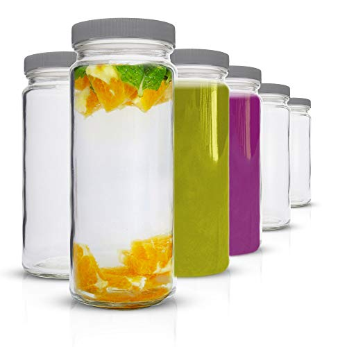 Glass Water Bottles Set - 6 Pack Wide Mouth with Lids for Juice, Smoothies, Beverage Storage - 16 oz, Durable, Eco Friendly & BPA Free - Reusable, Dishwasher Safe, Leak Proof, Grey Caps