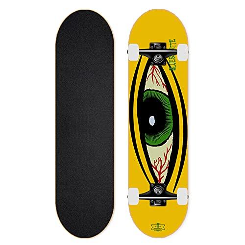 VOMI Skateboard con Cuscinetto a Sfere Silenzioso ad Alta Velocità, Patineta Four-Wheel Monopatín Double Tilt de Arce de 7 Capas para Principiantes, Niños, Adolescentes, Adultos, 31,7 Pulgadas,A