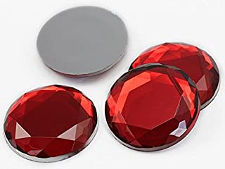 Allstarco 30mm Large Flat Back Acrylic Rhinestones, Lead Free. Pro Grade - 6 Pieces (Red Ruby)