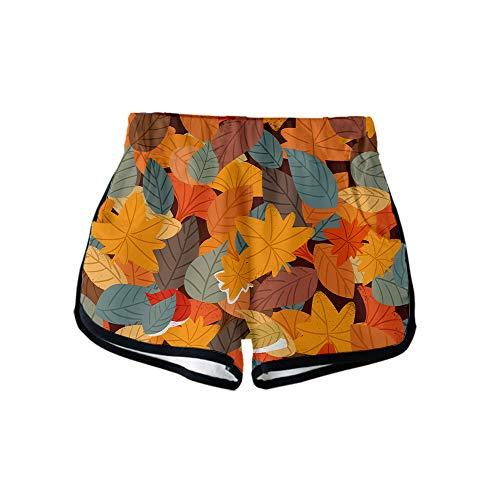 URVIP Damen Blatt Shorts 3D Druck Kurze Hose Badehose Freizeithose Jogginghose Sporthose Trainingshose Jogger Sweatpants Blatt-08 XL