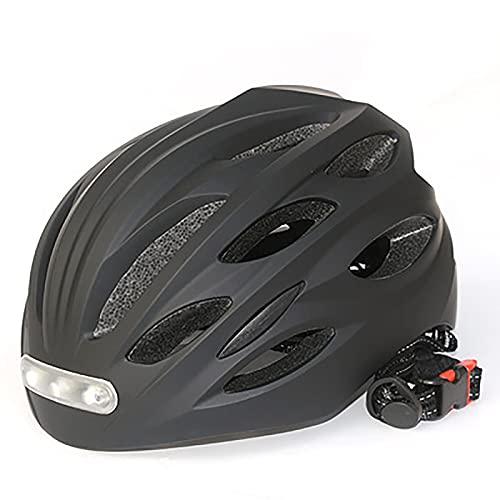 WXXMZY Cascos De Bicicleta para Adultos con Luces LED, Tanto para Hombre como para Mujer, Cascos De Bicicleta De Montaña Y Carretera (Color : Black, Size : M)