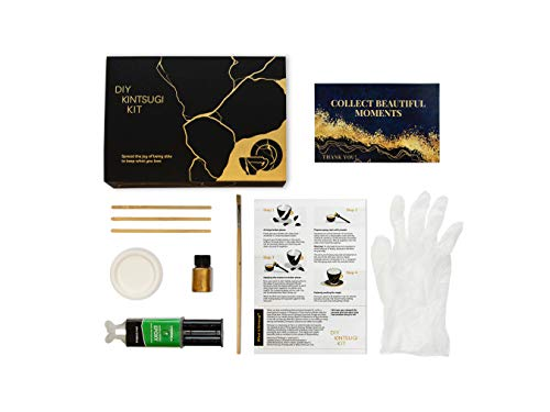 DIY KINTSUGI KIT Repair Your Pottery with Gold Powder Glue, Ceramic Repair kit Japanese kintsugi Repair Starter kit