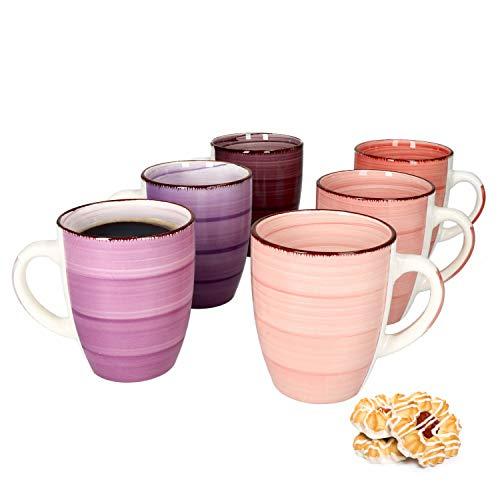 MamboCat Lila Baita 6-er Kaffee-Becher-Set I Steingut-Tasse groß mit Strudel-Dekor - in tollen Violett-Tönen I große Jumbo-Tee-Tasse - Tea & Coffee Mug I 300 ml Kaffee-Tassen-Set groß 6 Stück