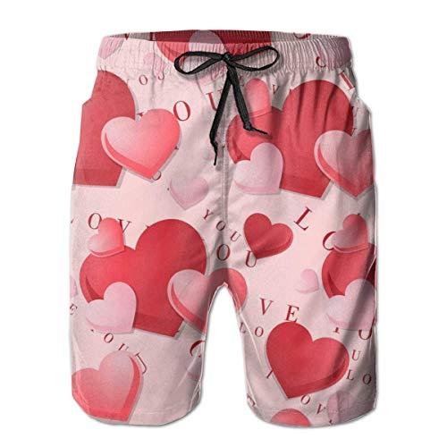 Pantalones Cortos de Playa Informales de Verano para Hombre, bañadores para Surf, bañadores (Patrones de corazón de Amor), Talla M